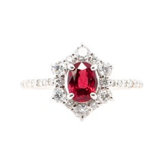 0.97 Carat Ruby and Diamond Engagement Ring Set in Platinum
