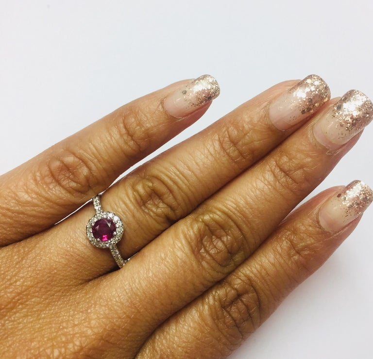 0.97 Carat Ruby Diamond Ring White Gold In New Condition For Sale In San Dimas, CA