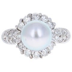 0.97 Carat Tahitian Pearl and Diamond 14 Karat White Gold Ring