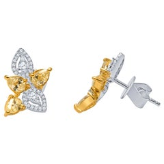 0.97 Carat Total Yellow Diamonds, 0.27 Carat Total Fine Diamond Earrings