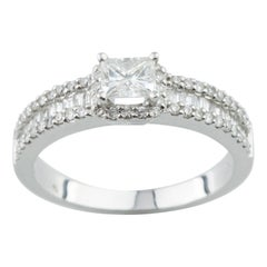 0.97 Carat Princes Cut Diamond Engagement Ring in 14 Karat White Gold