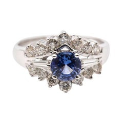 0.98 Carat Bright Blue Sapphire and Diamond 18 Carat White Gold Cluster Ring