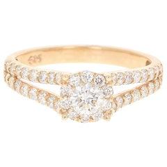 0.98 Carat Diamond 14 Karat Yellow Gold Bridal Ring