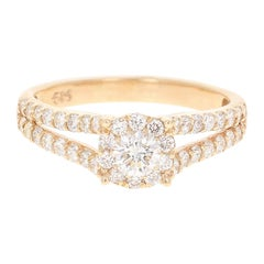 0.98 Carat Diamond 14 Karat Yellow Gold Bridal Ring