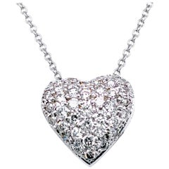 0.98 Carat Diamond 18 Karat Gold Pave Set Domed Heart Pendant Necklace