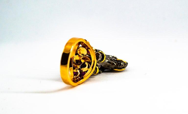 0.98 Carat Diamond Ruby Sapphire Tsavorite Yellow Gold Cocktail Elephant Ring For Sale 8