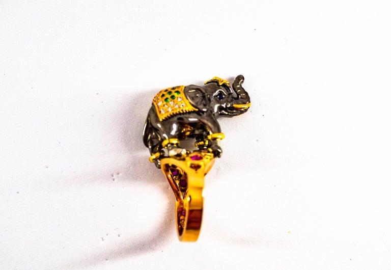 0.98 Carat Diamond Ruby Sapphire Tsavorite Yellow Gold Cocktail Elephant Ring For Sale 10