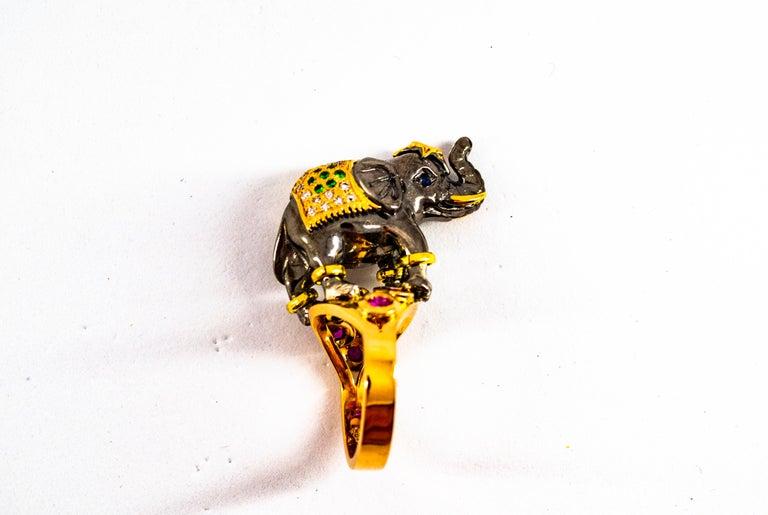 0.98 Carat Diamond Ruby Sapphire Tsavorite Yellow Gold Cocktail Elephant Ring For Sale 11