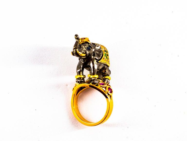 0.98 Carat Diamond Ruby Sapphire Tsavorite Yellow Gold Cocktail Elephant Ring For Sale 12