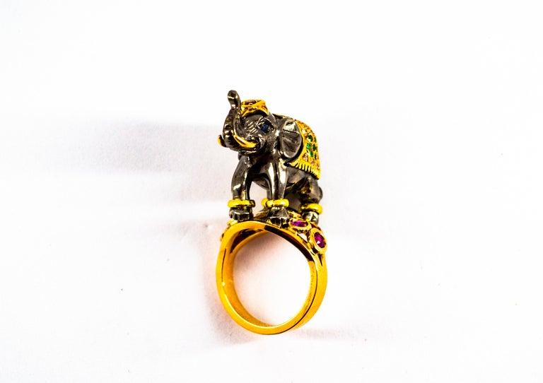 0.98 Carat Diamond Ruby Sapphire Tsavorite Yellow Gold Cocktail Elephant Ring For Sale 13