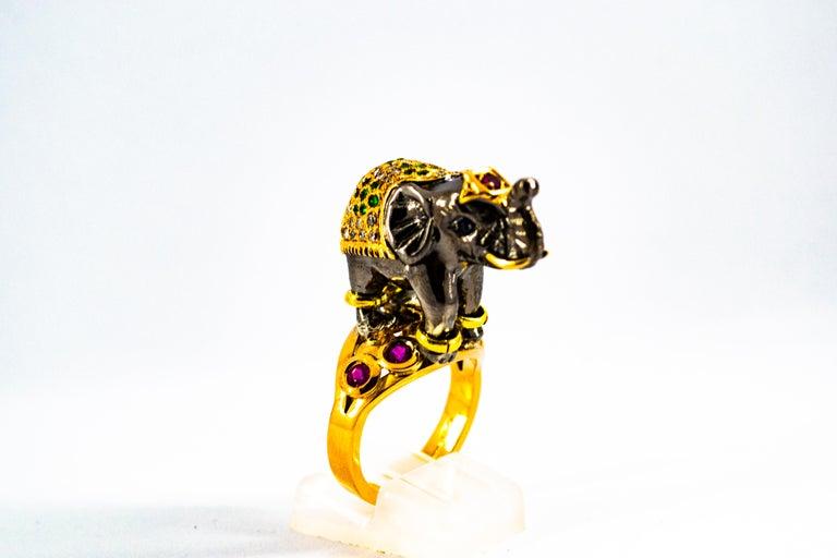 Women's or Men's 0.98 Carat Diamond Ruby Sapphire Tsavorite Yellow Gold Cocktail Elephant Ring For Sale
