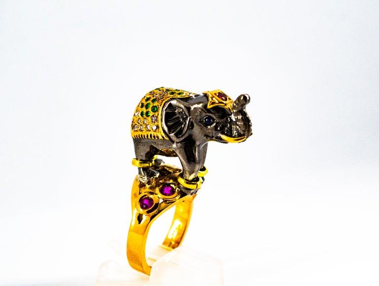 0.98 Carat Diamond Ruby Sapphire Tsavorite Yellow Gold Cocktail Elephant Ring For Sale 3