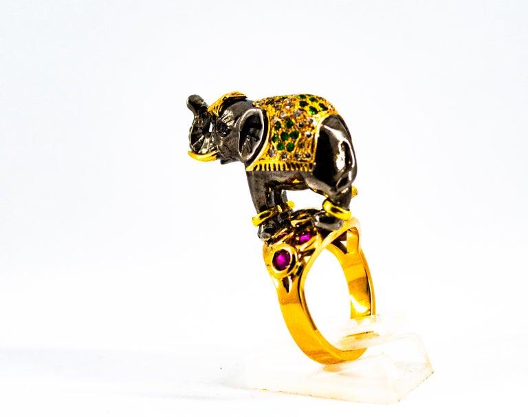 0.98 Carat Diamond Ruby Sapphire Tsavorite Yellow Gold Cocktail Elephant Ring For Sale 4