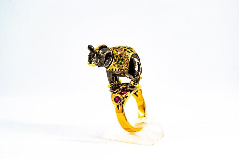 0.98 Carat Diamond Ruby Sapphire Tsavorite Yellow Gold Cocktail Elephant Ring For Sale 5