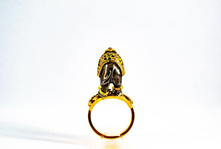 0.98 Carat Diamond Ruby Sapphire Tsavorite Yellow Gold Cocktail Elephant Ring For Sale 6