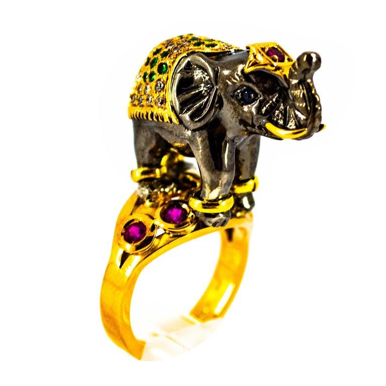 0.98 Carat Diamond Ruby Sapphire Tsavorite Yellow Gold Cocktail Elephant Ring For Sale
