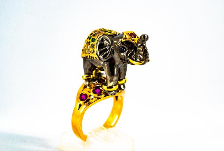 Renaissance 0.98 Carat Diamond Ruby Sapphire Tsavorite Yellow Gold Cocktail Elephant Ring For Sale
