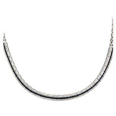 0.98 Carat Diamonds 9.36 Carat Blue Sapphire 18 Karat White Gold Necklace