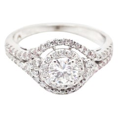 0.98 Carat Diamonds and Diamond Halo 18 Karat Gold Engagement Ring