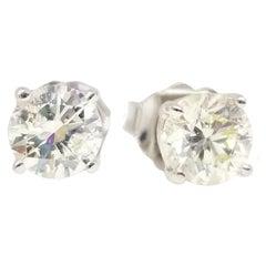 0.98 Carat Natural Diamond Round Studs