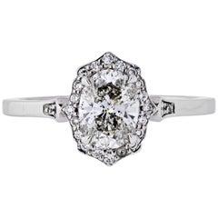 0.98 Carat Oval Diamond Engagement Ring