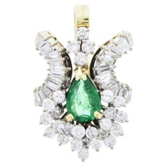 0.98 Carat Pear Shaped Emerald & Diamond Pendant in 18k Two Tone Gold