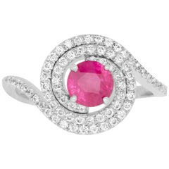 0.98 Carat Round Ruby and 0.43 Carat White Diamond Ring