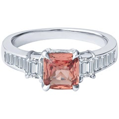 0.98ct Cushion Cut Padparadscha Sapphire and Baguette Diamond Platinum Ring, GIA