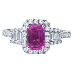 0.98ct Emerald Cut Pink Sapphire Ring with 0.57ctw Round and Baguette Diamonds