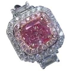0.99 Carat Fancy Pink Diamond Ring 18 Karat White Gold