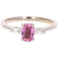 0.99 Carat Pink Sapphire Diamond 14 Karat White Gold Ring