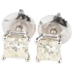 0.99 Carat Princess Cut Diamond Stud Earrings with Screwbacks in White Gold