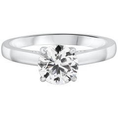 0.99 Carat Round Brilliant Diamond Solitaire Engagement Ring