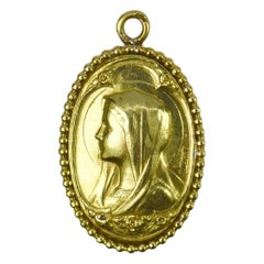 0French Virgin Mary 18k Yellow Gold Medal Pendant
