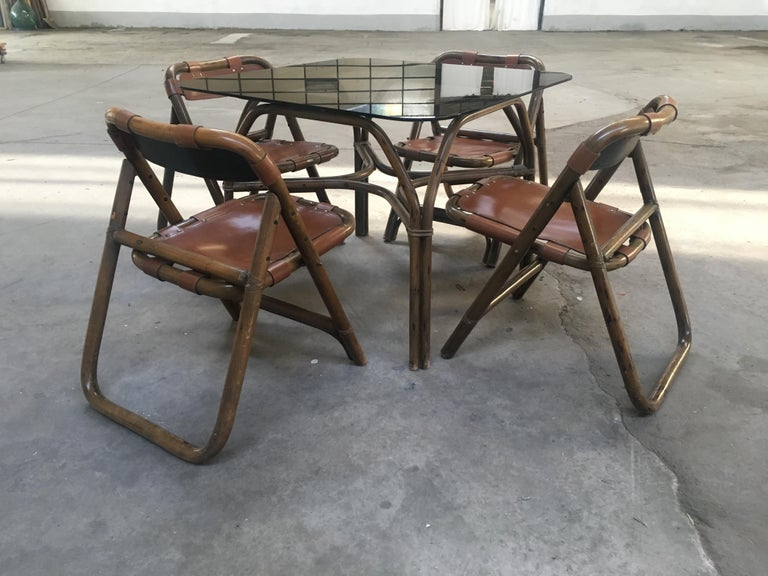 Mid-Century Modern Italian Dining Room Bamboo and Leather Set by Lyda Levi In Good Condition For Sale In Prato, IT
