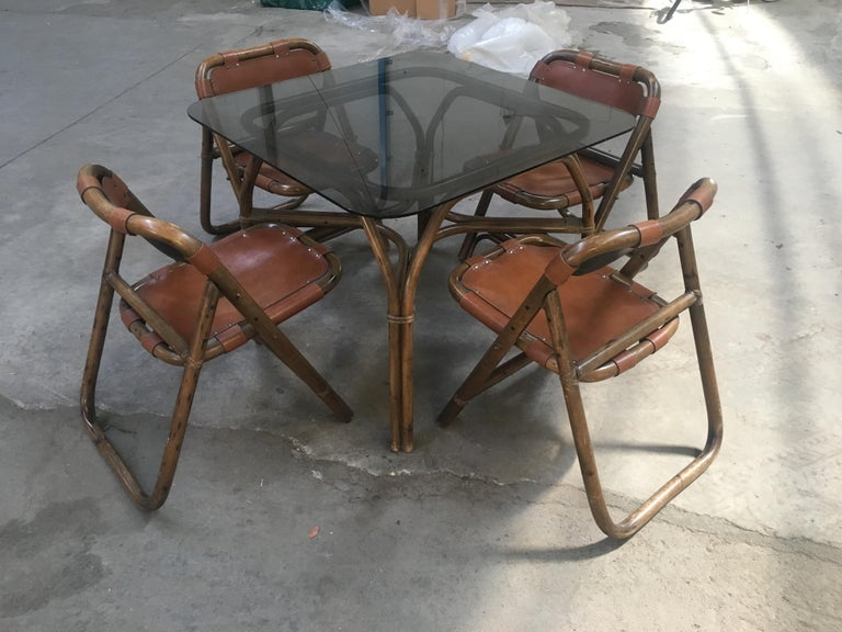 Late 20th Century Mid-Century Modern Italian Dining Room Bamboo and Leather Set by Lyda Levi For Sale