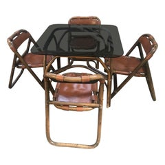 Mid-Century Modern Italian Dining Room Bamboo and Leather Set by Lyda Levi