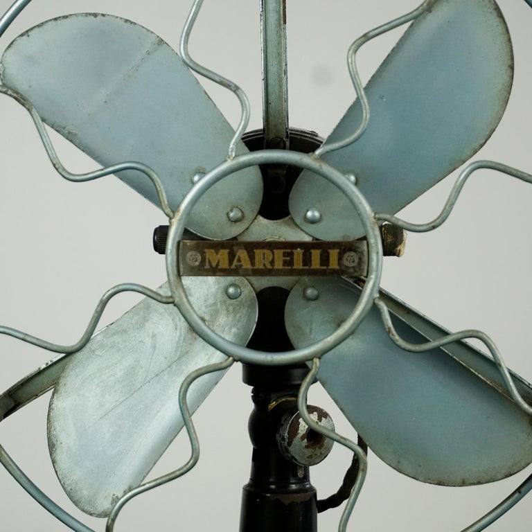Metal 0riginal Vintage Industrial Art Deco Table Fan by Marelli Italy For Sale