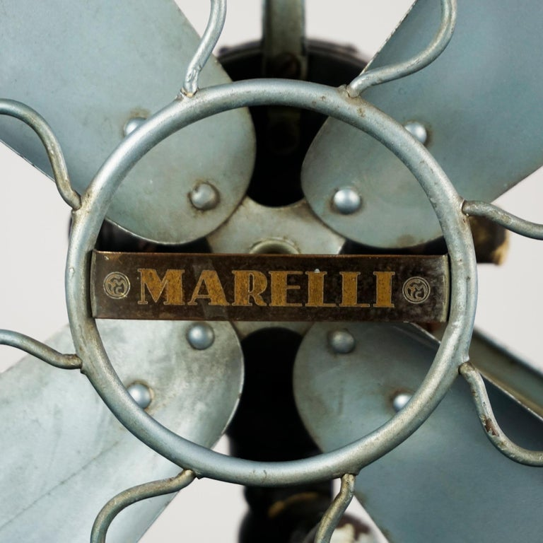 0riginal Vintage Industrial Art Deco Table Fan by Marelli Italy For Sale 1