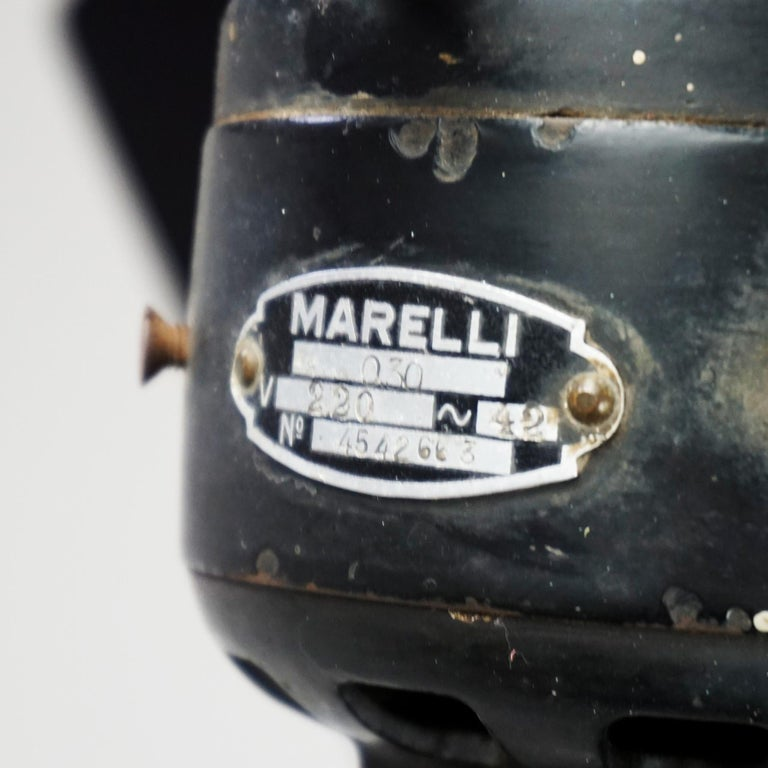 0riginal Vintage Industrial Art Deco Table Fan by Marelli Italy For Sale 2