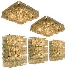 1 0f 5 Kinkeldey Wall or Flush Mount Lights Sconces, Nickel Crystal Glass, 1970