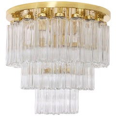 1 of the 2 Brass and Glass Flush Mount Chandeliers, Limburg Glashütte, 1970