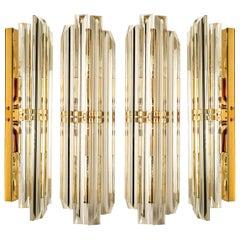 1 0f the 4 Venini Style Murano Glass and Gilt Brass Sconces, 1960s