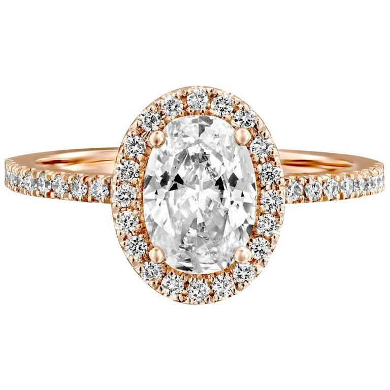 1 1/2 Carat 14 Karat Rose Gold Oval Engagement Ring, Oval Halo Diamond Ring For Sale