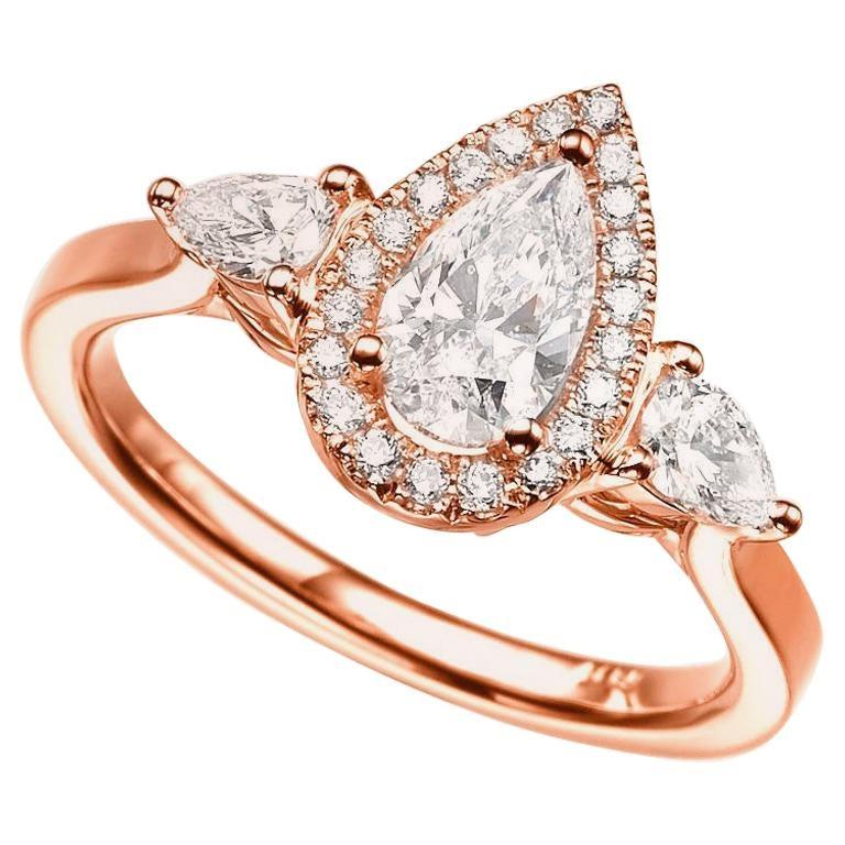 1 1/2 Carat 14 Karat Rose Gold Pear Diamond Engagement Ring, Diamond Halo Ring In New Condition For Sale In New York, NY