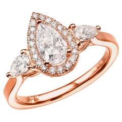 1 1/2 Carat 14 Karat Rose Gold Pear Diamond Engagement Ring, Diamond Halo Ring