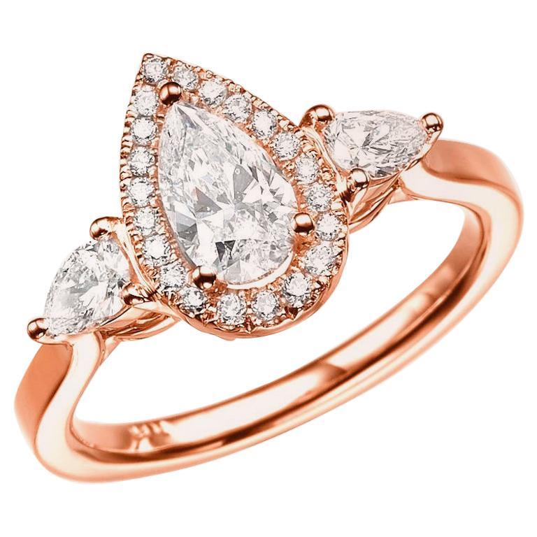 1 1/2 Carat 14 Karat Rose Gold Pear Diamond Engagement Ring, Diamond Halo Ring For Sale