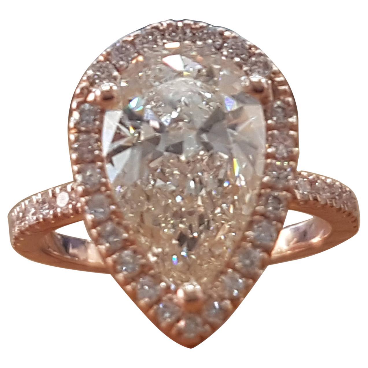 1 1/2 Carat 14 Karat Rose Gold Pear Diamond Engagement Ring, Tear Drop Diamond