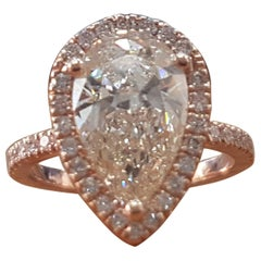 1 1/2 Carat 14 Karat Rose Gold Pear Diamond Engagement Ring, Tear Drop Diamond