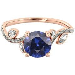 1 1/2 Carat 14 Karat Rose Gold Round Sapphire Leaf Style Engagement Ring